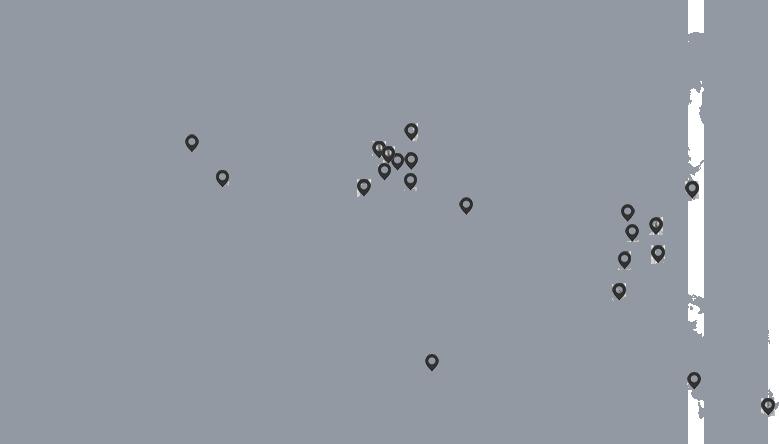 Deben locations world map